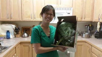 Judy getting a special home delivery, but only for her first CSA share =)