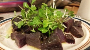 Roasted purple daikon with radish microgreens