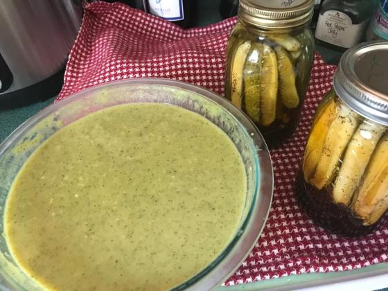 chilled zucchini soup & gherkin pickles