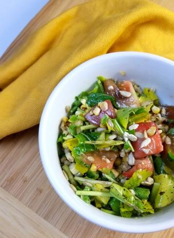Judy's arugula tomato salad