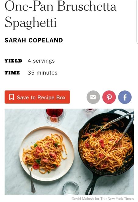 NYT easy one-pan spaghetti